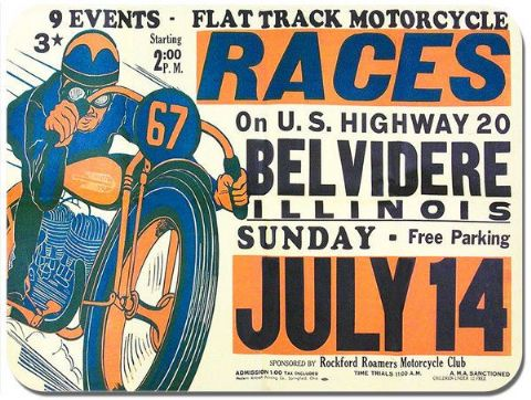 Belvidere US Flat Track Races Vintage Poster Mouse Mat Motorbike Mouse Pad Gift